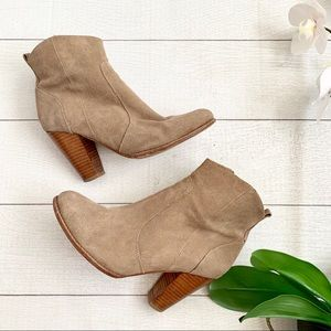 Joie Dalton Taupe Suede Leather Ankle Booties